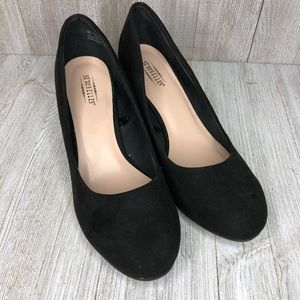 Seychelles Gertrude Classic Black Suede Wedge Wide
